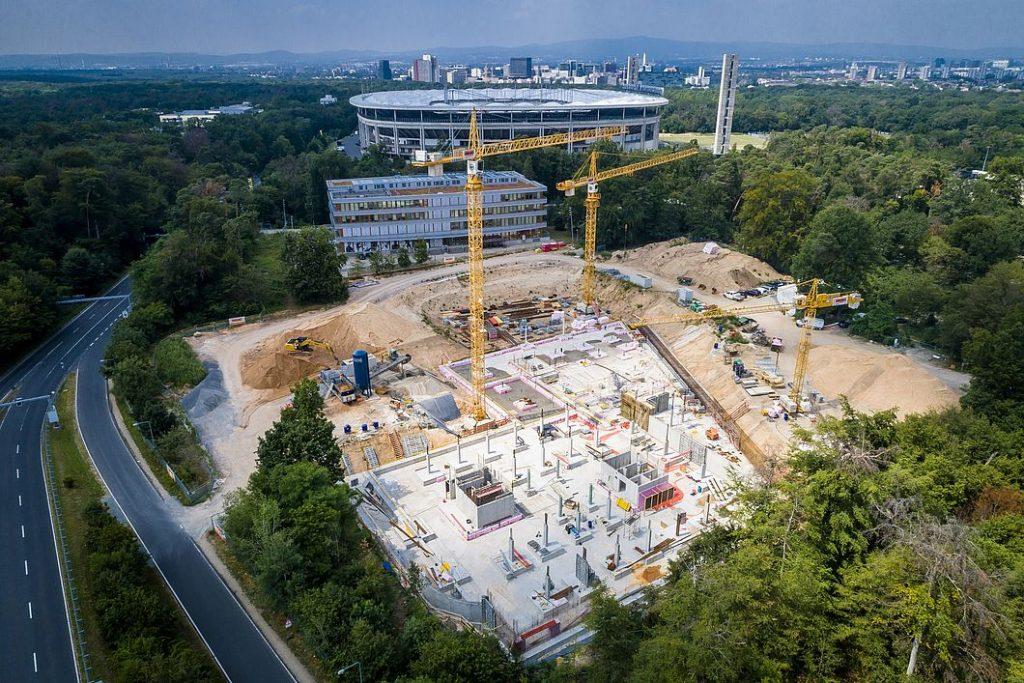 Baustelle des ProfiCamps Eintracht Frankfurt von oben